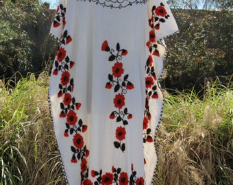 vintage cotton mexican gauze white caftan dress with floral embroidery open size