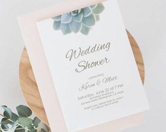 Succulent Engagement Party Invite - Wedding Shower Succulent Invite - Printable Invitation Green - Boho Rustic Invite - 5x7 inches - #GD3302