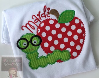 Girls Back to School Shirt-- Book Worm in Training -- red polka dot apple with worm -- perfect for starting Kindergarten and school