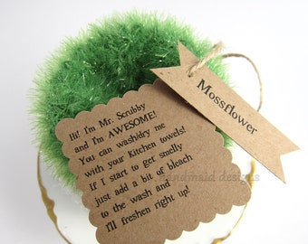 Kitchen Scrubby TRIO~Mossflower~Reuseable Scrubbie~Pot Scrubby~Green Living~handmade scrubby~Kitchen Cloth~Scrubby Pad