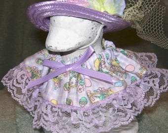 "Easter outfit for 6"" baby lawn goose in lavender and white check with eggs."