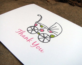 Baby Thank You Notes - Baby Shower Thank You Notes - Baby Girl Thank Yous - Thank You Notes - Baby Buggy