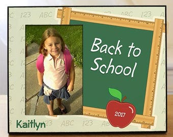 Back To School Personalized Printed Frame, back to school, blackboard, classroom, teacher gift, elementary school, wood -gfy444886
