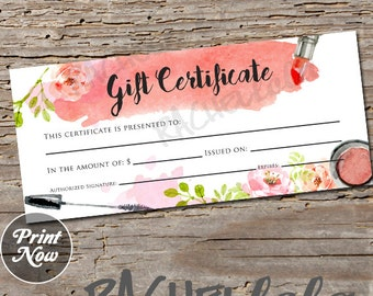 watercolor makeup printable gift certificate template spring direct sales mary kay gift voucher avon gift card instant digital download