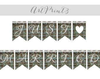 Printable Wedding Banner, Rustic Just Married Wedding Banner Sign, Wood&Lace Just Married Banner, Printable Barn Wood Wedding Banner