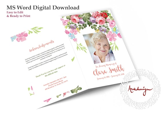 MS Word Funeral Card Floral Funeral program template Rose