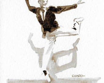 Original Gift > the magic Fred Astaire - Unique Sketch to frame great decoration - Ink walnut stain Sepia Dance - Musical - black and White