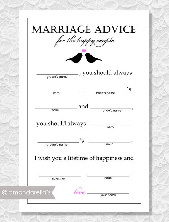 items similar to marriage advice madlibs diy printable lovebirds bridal shower game on etsy. Black Bedroom Furniture Sets. Home Design Ideas