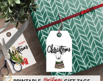 Printable Christmas gift tags, red green gold design Xmas labels, includes 8 designs, front and back