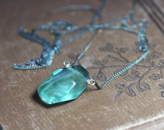 Fluorite Necklace Antiqued Silver Necklace Green Fluorite Faceted Nugget Pendant