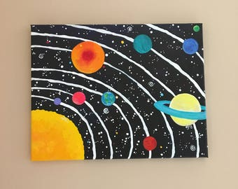 Art for Kids Room, Solar System No.11, 14x11 Acrylic Space Painting, Space Themed Nursery Decor