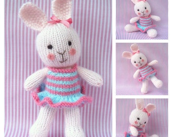 Candytuft - toy bunny rabbit doll knitting pattern - PDF INSTANT DOWNLOAD