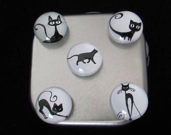 Cat fridge magnets, Free Shipping, Cute fridge magnets, Refrigerator magnets, Teacher, Christmas Gift, Office Gift, Black Cat Magnet Set #4