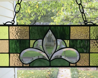 "Stained Glass Window Panel Suncatcher in Brilliant Fall Colors, apprx size 18"" x 6"""