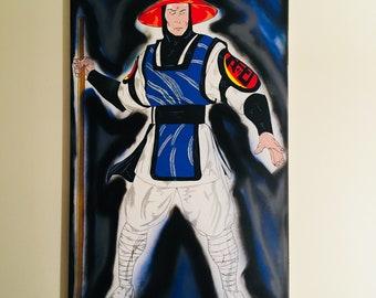 Rayden Mortal Kombat acrylic painting 24x48