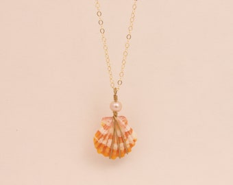 Small Sunrise Shell Necklace with Pearl
