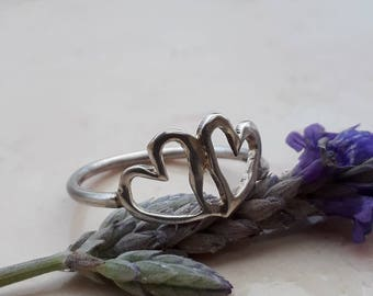 Valentine ring, Silver stack ring, Heart silver Ring,  Love Ring, Gift for her, Heart jewelry, Open Heart Ring, Heart Ring, Sterling silver