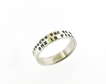 And Though She Be But Little, She Is Fierce, hand stamped sterling silver ring, Shakespeare quote jewelry, ring band by Kathryn Riechert