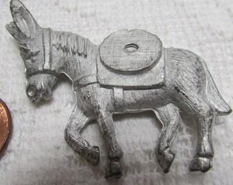 vintage NOS unplated donkey pin brooch finding pkg of 2