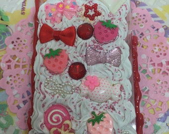 Strawberry iPhone 4 4s Case Deco Decoden Kawaii Whip Whipped Cream Red Pink Ice Cream