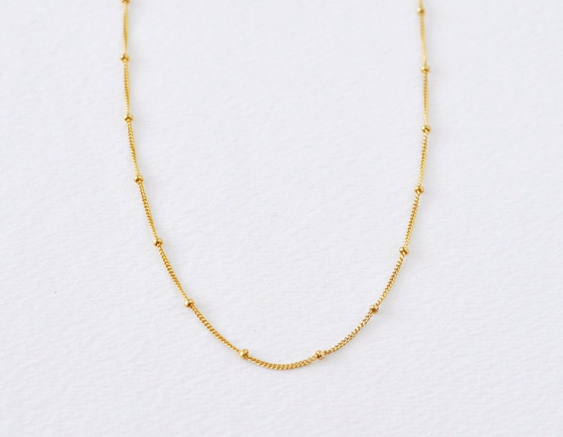 Gold dotted necklace delicate gold filled chain necklace