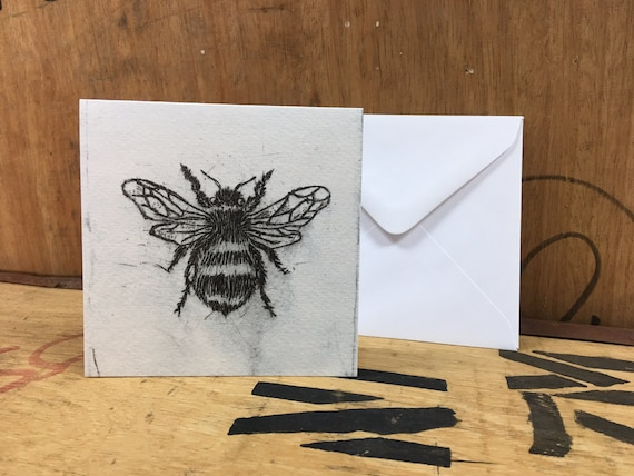 Bee Card • Bee Etching Print • Honey Bee Art • Bumblebee Card • Bumblebee Art • Bee Greeting Card • Bee Birthday Card • Card For Bee Lovers
