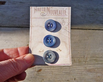 Vintage Antique 1890 French Victorian mother of pearl seashell blue buttons set of 3 on a card