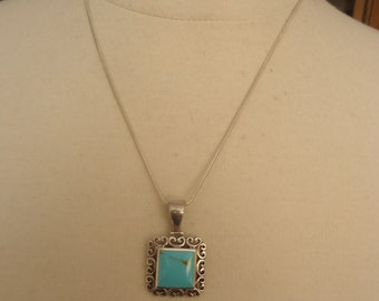 "Vintage Sterling Silver and Turquoise Gemstone Filigree Pendant on 20"" Sterling Snake Chain, 10 Grams"