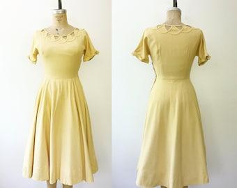 50s cotton dress / 1950s yellow dress / Cotton Lattice dress