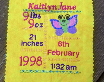 5x7 BLANK Butterfly Birth Announcement