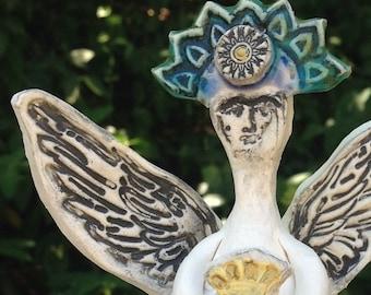 Custom Frida Kahlo Angel holding Sacred Heart