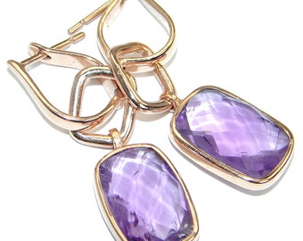 Pink Amethyst Sterling Silver Earrings - weight 7.80g - dim L - 1 5 8, W - 1 2, T - 3 16 inch - code 31-lip-17-36