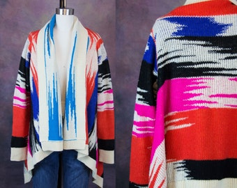 Late 70s/80s Pink, Red, Blue, Black and Cream Wrap Sweater