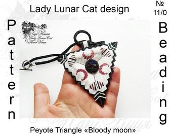 Triangle peyote pattern, Halloween peyote, Witchy peyote, Bloody moon peyote, Vampire peyote, Gothic peyote, Beading pattern, Beaded pattern