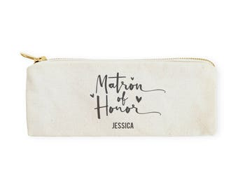 Matron of Honor Cotton Canvas Personalized Pencil Case and Travel Pouch for Back to School, Supplies, Teen Gifts, Zipper Pouch, Makeup Bag