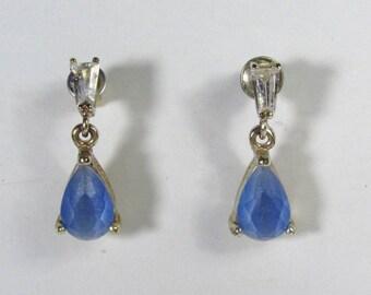 Designer signed Roman teardrop baguette rhinestone drop dangle earrings.