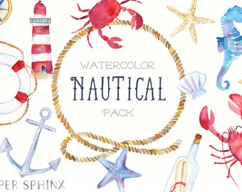 Watercolor Nautical Clipart   Ocean Clipart - Sailboat, Anchor, Rope, Seashell, Crab, Lighthouse - Wedding Invite - Instant Download PNGs