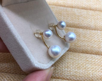 18k gold freshwater pearl earrings- two pearl earrings- double pearl natural earrings/Special Valentine's gift for her,Double pearl earrings