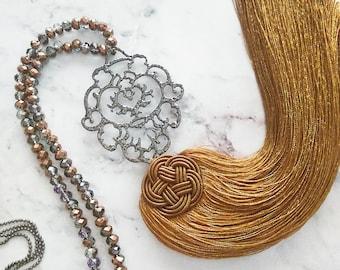 Boho tassel necklace,Filigree pendant necklace,Hamsa pendant,Ethnic necklace,Beaded necklace,Black nickel,Long everyday necklace,Fatima