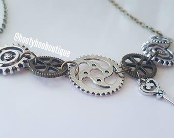 Statement Necklace Steam Punk Necklace Bronze Prom Necklace Chunky Necklace