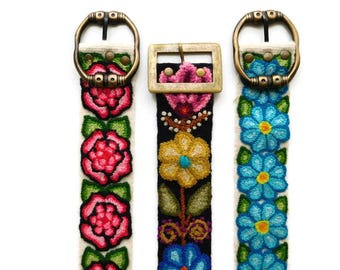 Boho Belt, Floral Embroidered Strap, Gypsy Fashion, One Piece