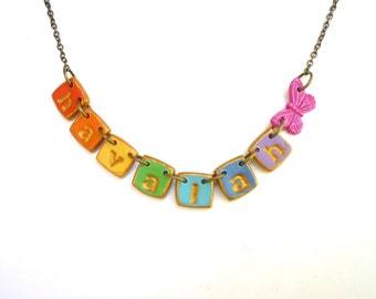 Rainbow Girl Name Necklace with Butterfly, colourful girl jewelry, 3,4,5,6,7,8,9,10,11 years old Birthday Gift, coordinated sisters