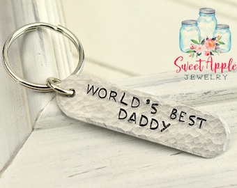 Worlds Best Daddy Keychain, Daddy Keychain, Personalized Keychain, Dad Keychain, Stamped Keychain, Customized Keychain, Keychain