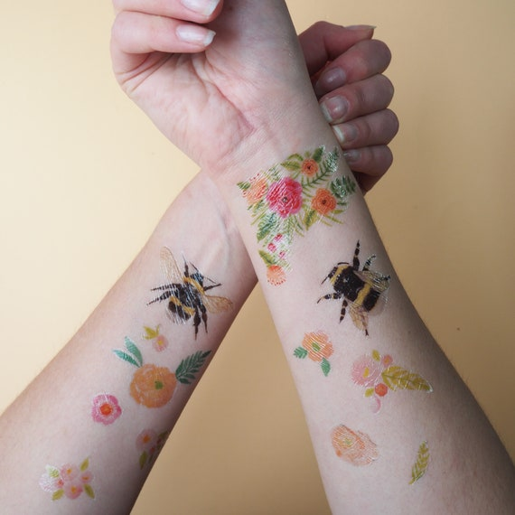 Bee And Flower Temporary Tattoos | Temporary Tattoo Set | British Bees | Temporary Tattoos | Floral Tattoos | Flower Illustrated Tattoos by Etsy
