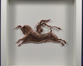 Bull-leaping sculpture reproduction framed artifact plus Fresco Gift
