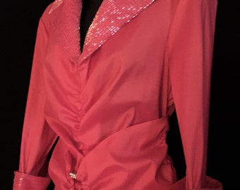 Hot Pink Rhinestone and Glass Bead Top         VG68