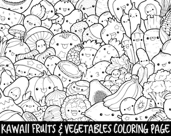 fruits vegetables doodle coloring page printable cutekawaii coloring page for kids and - Coloring Page Kawaii