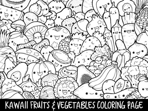 Fruits & Vegetables Doodle Coloring Page Printable