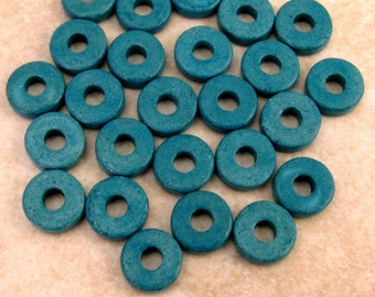 8mm Round Washer, Greek Ceramic Beads, Teal Blue, 25 Pieces, M17