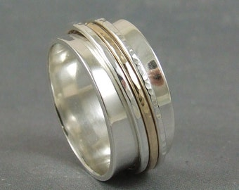 Your custom inscription - Sterling silver and 10k gold spinner ring